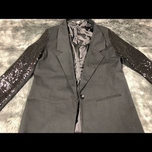 Mossimo Black Sequin Sleeve Fitted Blazer